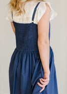 Navy Cotton Button Front Smocked Maxi Dress - FINAL SALE
