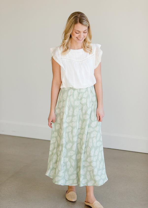 Inherit Co.  | Women's New Arrivals | Leaf Printed High Waist Midi Skirt