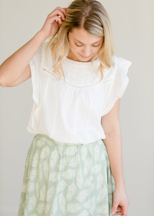 Inherit Co.  | Modest Women's Tops | Eyelet Lace Ruffle Sleeve Top
