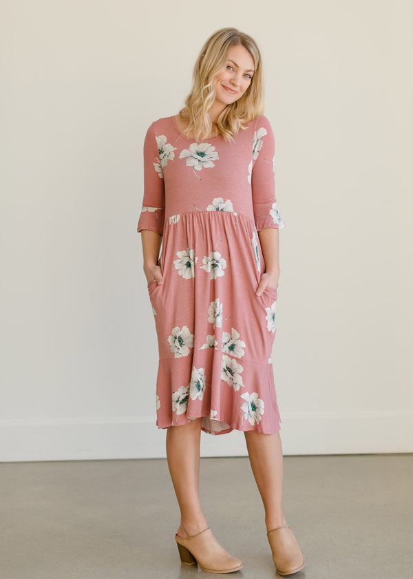 Inherit Co.  | Women's Modest Dresses | Blush Floral Buttersoft Midi Dress