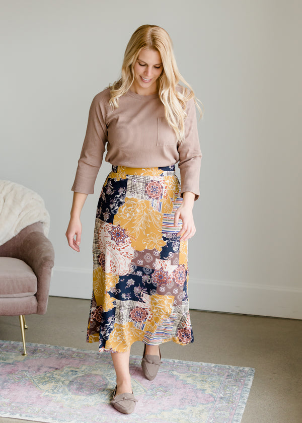 Inherit Co.  | Women's New Arrivals | Patch Print Flowy Midi Skirt