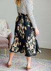 Pleated Stretch Waist Midi Skirt - FINAL SALE