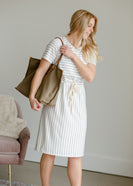 Gray Striped Waist Tie Midi Dress - FINAL SALE