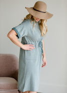 Short Sleeve Waist Tie Midi Dress - FINAL SALE