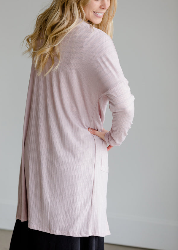 Inherit Co.  | Pointelle Ribbed Pink Pocket Cardigan