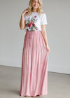 Single Tier Mauve Maxi Skirt