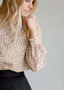 Front Ruffle Button Up Print Top - FINAL SALE