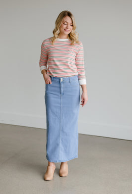 Inherit Co.  | Clearance | Pink and Navy Colorblock Maxi Skirt - FINAL SALE |