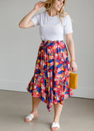 Tropical Hankerchief Hem Midi Skirt - FINAL SALE