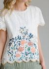 Embroidered Scalloped Hem Top - FINAL SALE