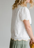 Inherit Co.  | Modest Women's Tops | Embroidered Scalloped Hem Top