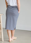 Navy Nautical Striped Pocket Midi Skirt