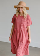 Knit Patch Pocket Midi Dress - FINAL SALE
