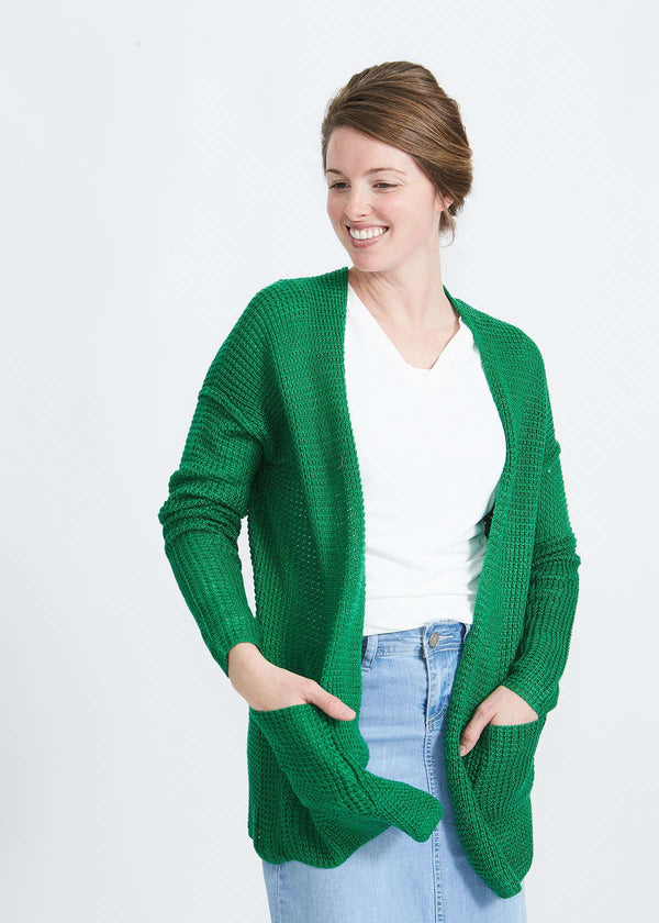 Inherit Co.  | Modest Women's Tops | Open Front Waffle Knit Cardigan-FINAL SALE | Woman wearing a green or coral waffle knit cardigan