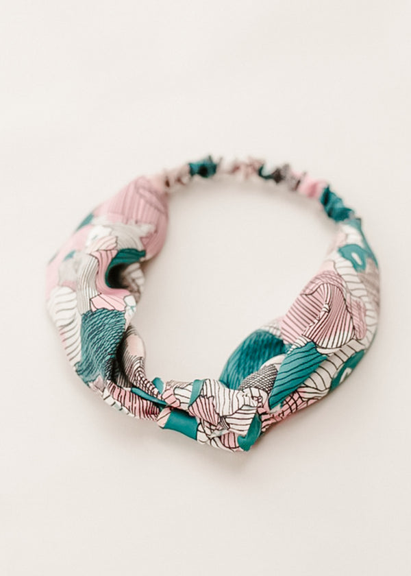 Inherit Co.  | Girls Modest Clothing | Teal + Pink Geometric Knotted Headband