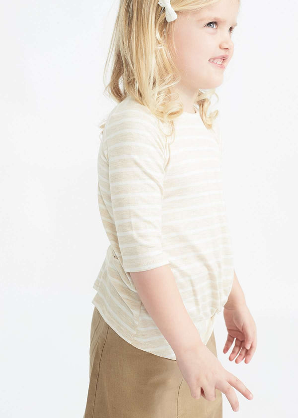 cream striped twist front top