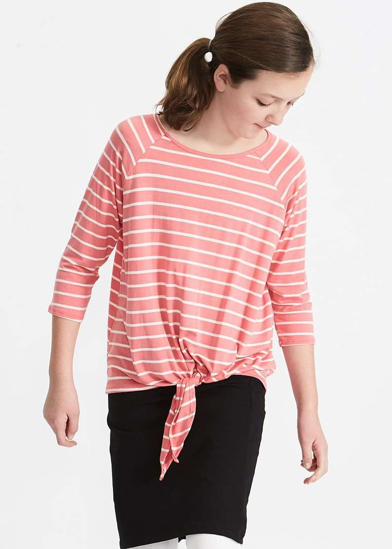 coral and white striped raglan tee with tie front