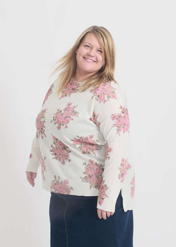 Ivory plus size sweater with blush florals all over