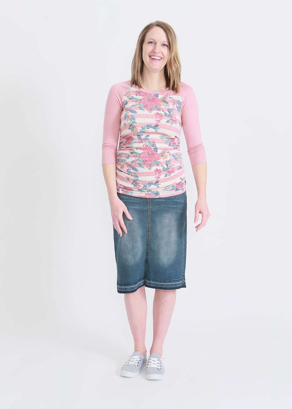 floral and stripe 3/4 raglan tee and modest midi denim skirt