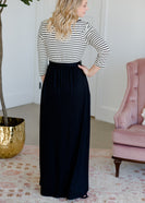 Black and White Lace Striped Maxi Dress - FINAL SALE