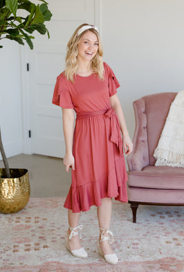 Inherit Co.  | Women's Modest Dresses | Smocked Ruffle Midi Dress |