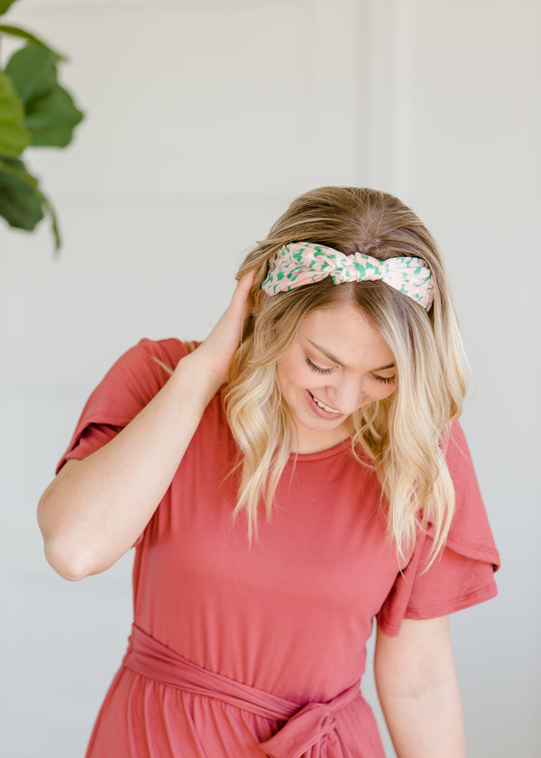 Inherit Co.  | Women's Accessories | Pink + Green Knotted Headband