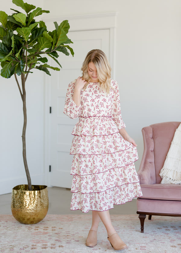 Inherit Co.  | Women's Modest Dresses | Floral and Cream Ruffled Midi Dress