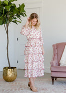 Floral and Cream Ruffled Midi Dress - FINAL SALE