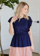 Ruffle Detail Peplum Top - FINAL SALE