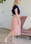 Lace Stretch Waist Midi Skirt - FINAL SALE