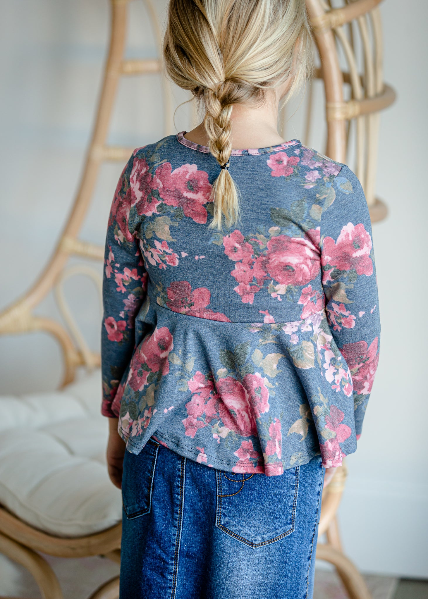 Girls Navy Floral Peplum Top