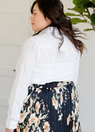 White Button Up Pocket Blouse - FINAL SALE