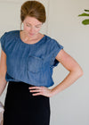 Chambray Button Back Pocket Top