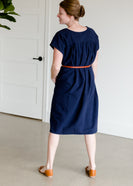 Short Sleeve Navy Cotton Midi Dress - FINAL SALE