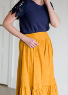 Polka Dot High Waist Ruffle Maxi Skirt - FINAL SALE