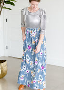 Floral and Striped Knit Maxi Dress - FINAL SALE