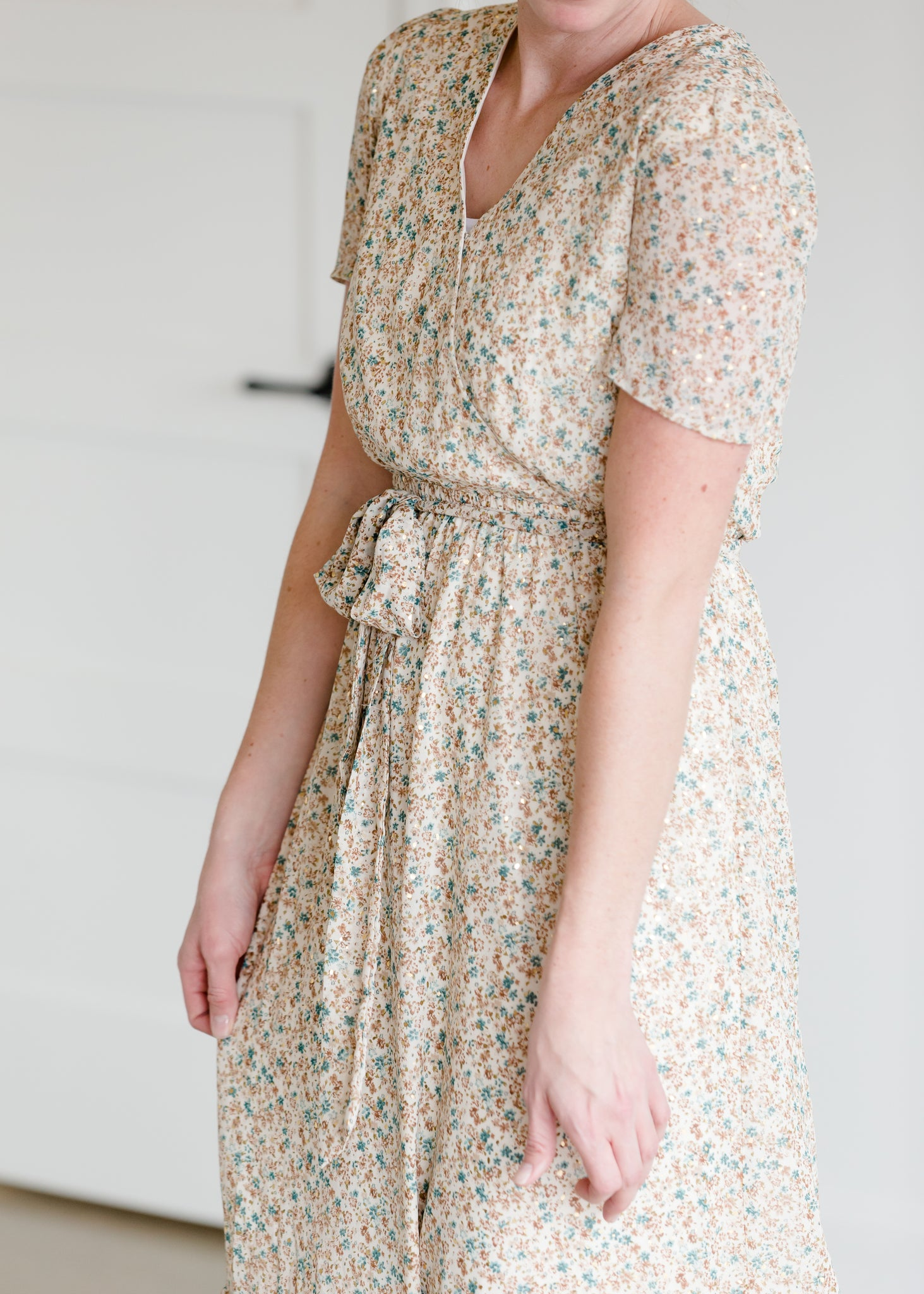 Floral Gold Detail Maxi Dress