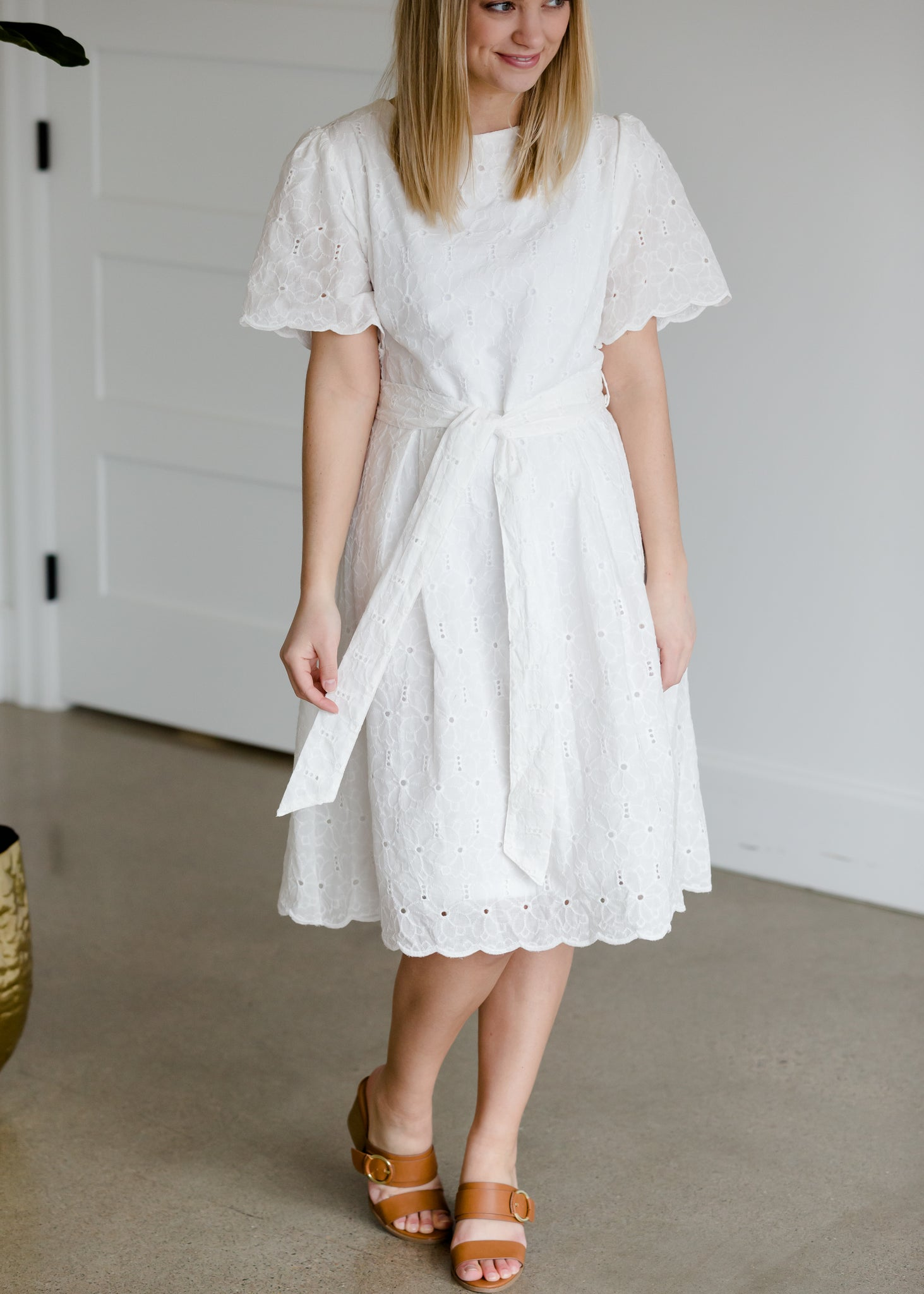 White Lace Detailed Midi Dress - FINAL SALE