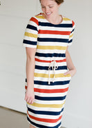 Multi Striped Knit Drawstring Midi Dress - FINAL SALE