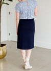 Button Detail Navy Midi Skirt - FINAL SALE