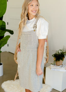 Gray Textured Knit Overall Dress