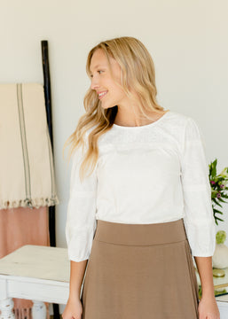 Ivory Knit Lace Detail Top