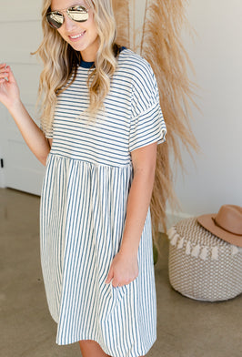 Inherit Co.  | Modest Women's Best Sellers | Multi Striped Midi Dress - FINAL SALE |