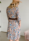 Floral Detailed Cream and Blue Midi Dress - FINAL SALE