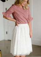 White Eyelet A Line Midi Skirt - FINAL SALE