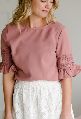Inherit Co.  | Modest Plus Size Clothing | Textured Knit Mauve Top |