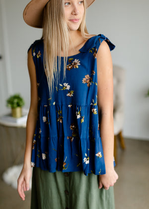 Blue Floral Tie Shoulder Top