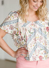 Geometric Floral Short Sleeve Top - FINAL SALE