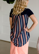 Striped Detail Navy Top