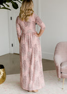 Paisley Print 3/4 Sleeve Maxi Dress